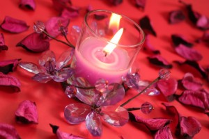 Candle with dry petals